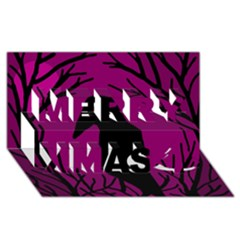 Halloween raven - magenta Merry Xmas 3D Greeting Card (8x4)