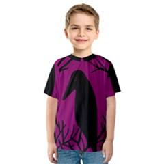 Halloween raven - magenta Kid s Sport Mesh Tee