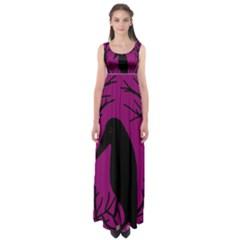 Halloween Raven   Magenta Empire Waist Maxi Dress
