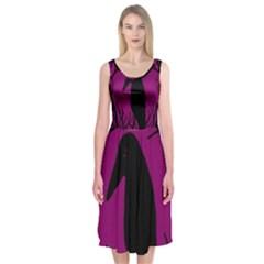 Halloween raven - magenta Midi Sleeveless Dress