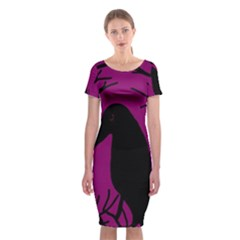 Halloween raven - magenta Classic Short Sleeve Midi Dress