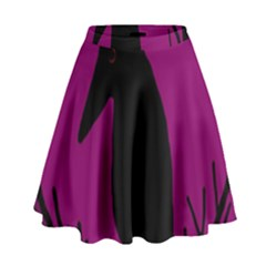 Halloween raven - magenta High Waist Skirt