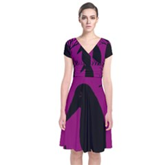 Halloween Raven   Magenta Short Sleeve Front Wrap Dress