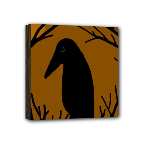 Halloween raven - brown Mini Canvas 4  x 4