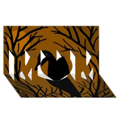 Halloween raven - brown MOM 3D Greeting Card (8x4)