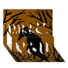 Halloween Raven   Brown Miss You 3d Greeting Card (7x5)