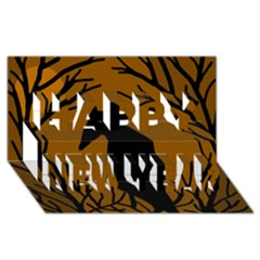 Halloween raven - brown Happy New Year 3D Greeting Card (8x4)