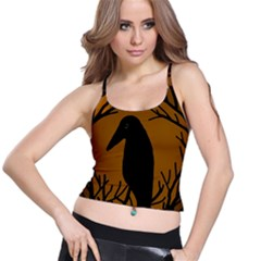 Halloween raven - brown Spaghetti Strap Bra Top