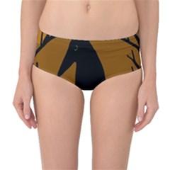 Halloween raven - brown Mid-Waist Bikini Bottoms
