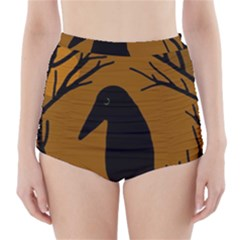 Halloween raven - brown High-Waisted Bikini Bottoms