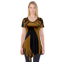 Halloween raven - brown Short Sleeve Tunic