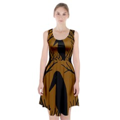 Halloween raven - brown Racerback Midi Dress