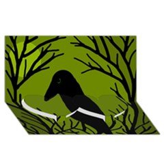 Halloween raven - green Twin Heart Bottom 3D Greeting Card (8x4)