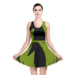 Halloween raven - green Reversible Skater Dress