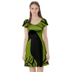 Halloween raven - green Short Sleeve Skater Dress