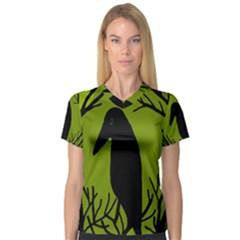 Halloween raven - green Women s V-Neck Sport Mesh Tee