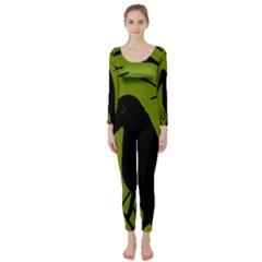 Halloween raven - green Long Sleeve Catsuit