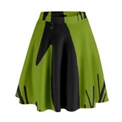 Halloween raven - green High Waist Skirt