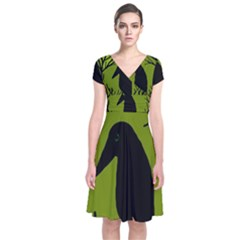 Halloween raven - green Short Sleeve Front Wrap Dress