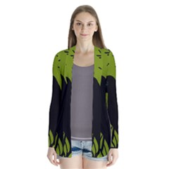 Halloween raven - green Drape Collar Cardigan