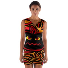Halloween decorative pumpkin Wrap Front Bodycon Dress