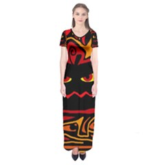 Halloween decorative pumpkin Short Sleeve Maxi Dress