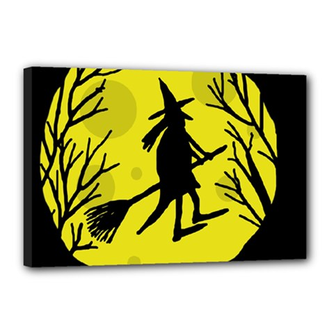 Halloween witch - yellow moon Canvas 18  x 12
