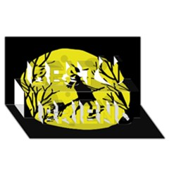 Halloween witch - yellow moon Best Friends 3D Greeting Card (8x4)