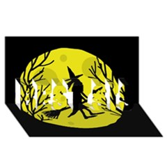 Halloween witch - yellow moon BEST SIS 3D Greeting Card (8x4)