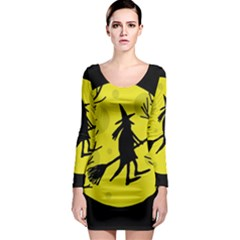 Halloween witch - yellow moon Long Sleeve Bodycon Dress