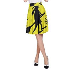 Halloween witch - yellow moon A-Line Skirt