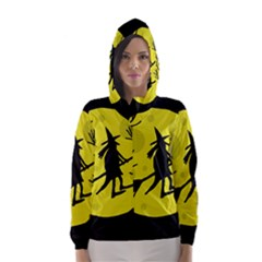 Halloween witch - yellow moon Hooded Wind Breaker (Women)