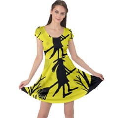 Halloween witch - yellow moon Cap Sleeve Dresses