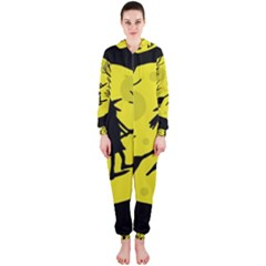 Halloween witch - yellow moon Hooded Jumpsuit (Ladies)