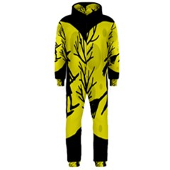 Halloween witch - yellow moon Hooded Jumpsuit (Men)