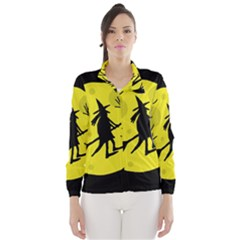 Halloween witch - yellow moon Wind Breaker (Women)