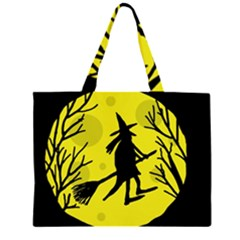 Halloween witch - yellow moon Large Tote Bag