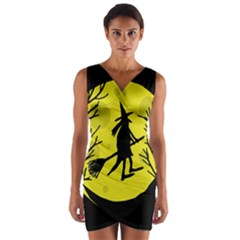 Halloween Witch   Yellow Moon Wrap Front Bodycon Dress