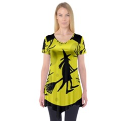 Halloween Witch   Yellow Moon Short Sleeve Tunic