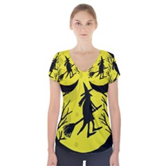 Halloween Witch   Yellow Moon Short Sleeve Front Detail Top