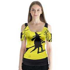 Halloween witch - yellow moon Butterfly Sleeve Cutout Tee