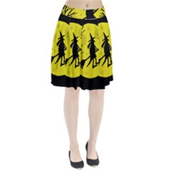 Halloween witch - yellow moon Pleated Skirt