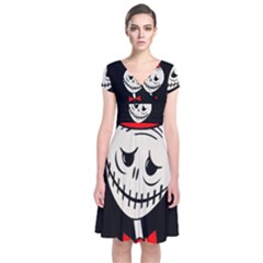 Halloween Monster Short Sleeve Front Wrap Dress