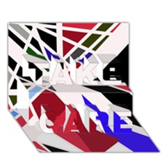 Decorative flag design TAKE CARE 3D Greeting Card (7x5)