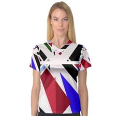 Decorative flag design Women s V-Neck Sport Mesh Tee
