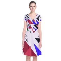 Decorative Flag Design Short Sleeve Front Wrap Dress
