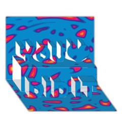 Blue and red neon You Did It 3D Greeting Card (7x5)