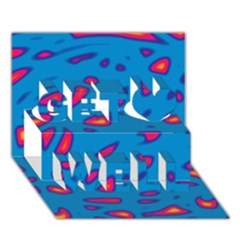 Blue and red neon Get Well 3D Greeting Card (7x5)