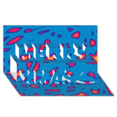 Blue and red neon Merry Xmas 3D Greeting Card (8x4)