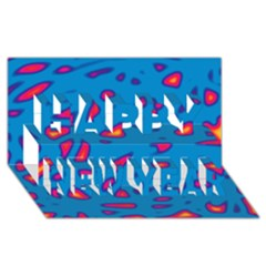Blue and red neon Happy New Year 3D Greeting Card (8x4)